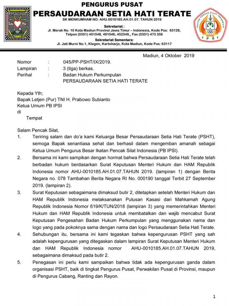 Surat PB IPSI dari PSHT
